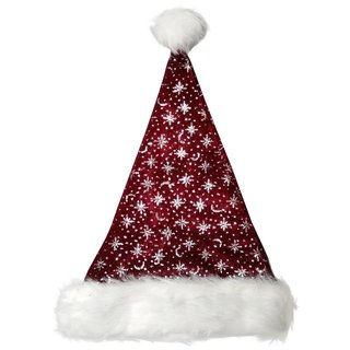 Weihnachtsmütze Nikolausmütze Plüsch Bordeaux Glitzer Mütze Santa Fuchsia Bordo